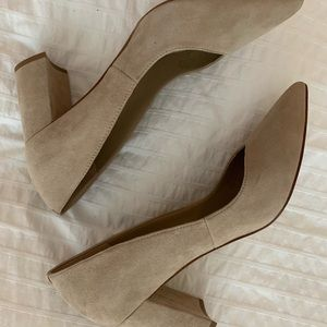 Marc Fisher block heel suede heels